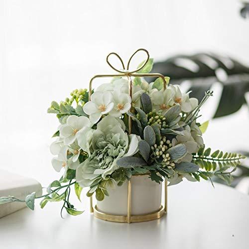 FCS Künstliche Blumen European Style-Blumentopf-Set Vase Tischdeko Dekoration Innen-Kunstausgangsdekoration Topfblumen (Color : Style1)