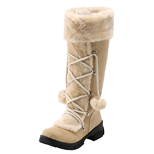 Snow Boots with Round Toe for Women,kaifongfu Square Heel Shoes Keep Warm(Beige,US:5.5)