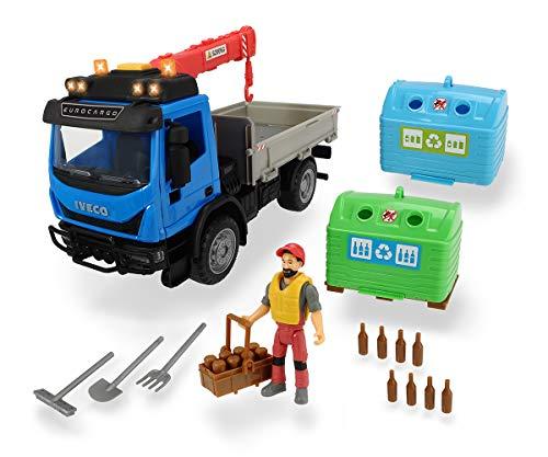 Dickie Playlife Camion ecologia Iveco Eurocargo. Con braccio gru, luci e suoni, due cassonnetti per il vetro, personaggio e accessori, in scala 1:24, cm. 29