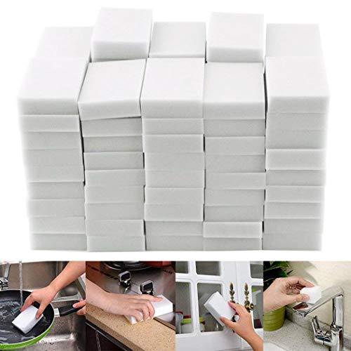 HUAXU Esponjas Mágicas de Limpieza - 50/100 Pack Borrador Mágico Almohadilla Quita Manchas - Natural Eco Blanca - Puede ser Cortado a la (50 Pack)