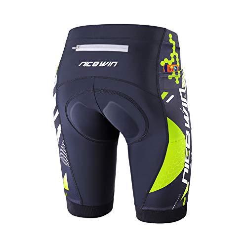 NICEWIN Pantalones Cortos de Ciclismo para Hombre Medias de Ciclismo para Motocicleta Pantalones Acolchados de Secado rápido 3D
