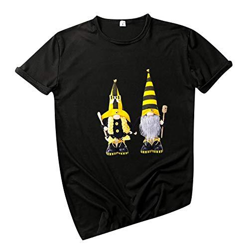 Camiseta de verano para mujer, diseño conciso, blusa básica, elegante, para verano, informal, camiseta de manga corta, cuello redondo, camiseta para mujer, regalos divertidos para mujeres, negro A, L
