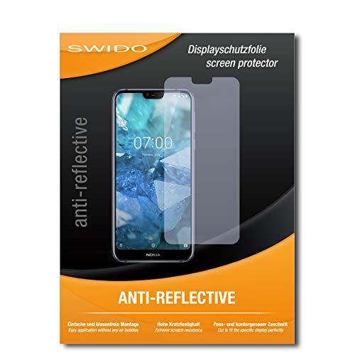 SWIDO Schutzfolie für Nokia 7.1 [2 Stück] Anti-Reflex MATT Entspiegelnd, Hoher Festigkeitgrad, Schutz vor Kratzer/Bildschirmschutz, Bildschirmschutzfolie, Panzerglas-Folie