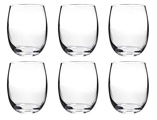 Juego de 6 vasos de vino y cerveza Bohemia Crystal – Mergus gama 220 ml para cualquier bebida fría, cristal sin tallo, copa de vino rojo o blanco, apto para lavavajillas, transparente