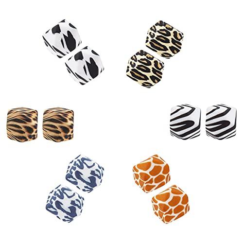 SUNNYCLUE 1 Caja 12 Piezas 6 Estilos 13.5 mm Leopardo Cebra Cuentas de Silicona Patrones de Piel de Animal Espaciador Suelto Cuentas Poligonales para Mujeres Y Adultos Collar de Bricolaje Pulsera