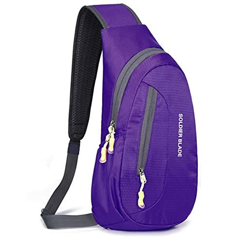 Outdoor Sling Crossbody Spalla Petto Bag Pack Esecuzione Escursionismo Ciclismo Zaino Da Viaggio per Uomini Donna, Viola, Refer Second Picture, Zaino da escursionismo (fino a 45 L)