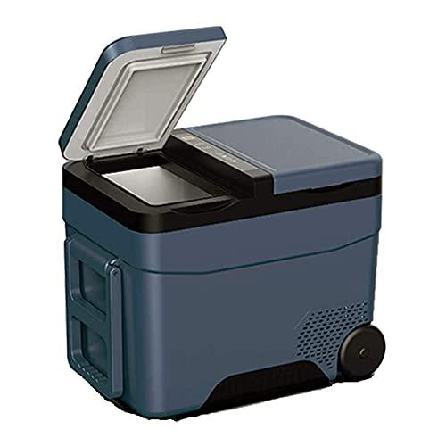 SHUHANG Refrigeradores de automóviles Mini Fridges con asa Invisible y Ruedas Dobles Puertas y congelación de Almacenamiento (Color : Blue, Size : 633x420x428mm)