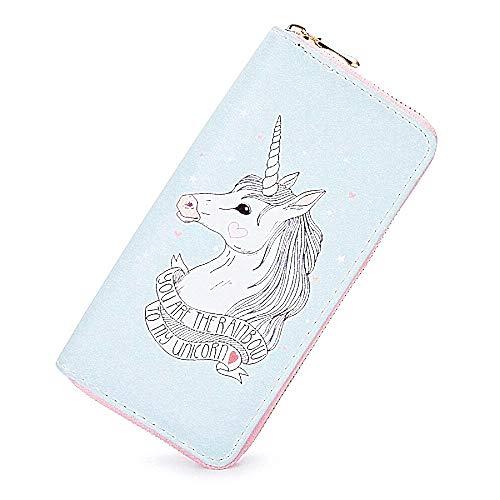 Vrouwelijke portemonnee - eenhoorn vrouw - meisje - vrouw - meisje - origineel cadeau-idee - ritssluiting - lichtblauw