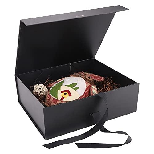 Caja de Regalo con Lazo de Lazo Decorativo Cajas de Cartón,32 x 26 x 10,5cm Caja de Regalo Magnética Cajas de Cartón Caja con Tapa Caja de Regalo con Magnética Caja de Regalo de Lujo Premium (Black)