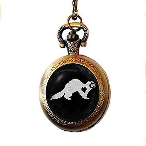 Magnifique collier de montre de poche en verre de furet...