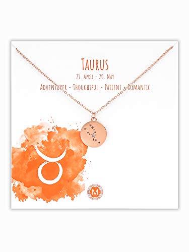 MURANDUM Sternzeichen Halskette   Zodiac Sign Star Constellation Necklace   Damen Kette mit Sternbild Anhänger (Roségold, Stier/Taurus)
