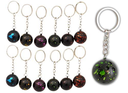 jameitop® Bowling Kugel ⚾ 12 Stück ⚾ gemixte Farben Schlüsselanhänger Strike Set