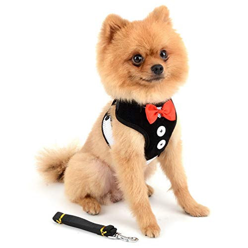 SELMAI Vest Harnesses and Leash Set for Small Dog Cat Cute Pet Adjustable No Pull Boy Puppies Tuxedo Gentleman Suit Bow Tie Decoration Velvet Soft Mesh Padded Yorkie for Walking Leads Outdoor Black L