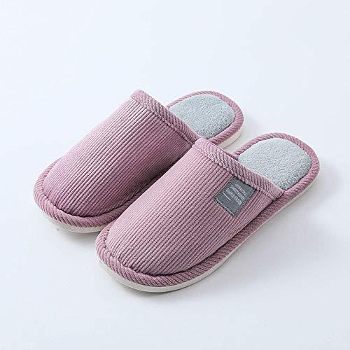 Zapatillas Slip On Mules para hombre,Zapatos de algodón de suela blanda para el hogar, zapatos de invierno cálidos para la casa-púrpura_40-41,Zapatillas de casa de felpa de felpa para mujer