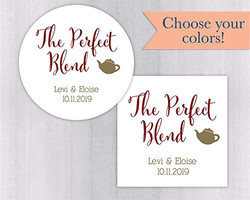 The Perfect Blend Wedding Favor Stickers For Tea or Other Drink Favors (#098)