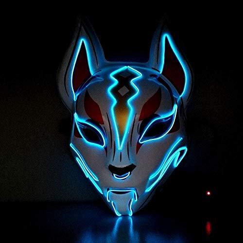 SLM-max Sehr gruselige Maske mit leuchtenden Masken, Kopfbedeckung, Himmel, Fuchs, leuchtendes Headset, Halloween, vibrierende Requisiten, Tier, Fuchs, Maske, rot