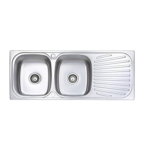 Fregadero de cocina Jass Ferry reversible, con escurridor, incluye tuberías de desechos y pinzas de fijación