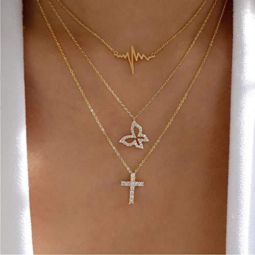 Handcess Boho Layered Collane Collana con ciondolo di Gesù Girocollo a farfalla con cristalli per donne e ragazze