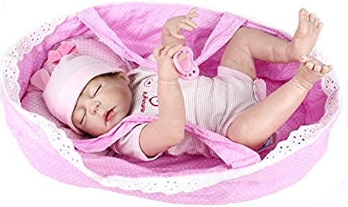 HSDDA Puppenkissen Silikon-Vinyl-Baby-Puppen handgemachte lebensechte realistische Baby-Puppe-Weiße Simulation 22-Zoll-55cm-Augen-ge netes mädchen-Lieblingsgeschenk Cartoon-Plüschkissen