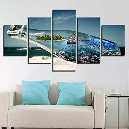 WHFDH Hd print muurkunst poster canvas schilderij 5 panelen fles zeilen landschap moderne woonkamer decoratie afbeelding 20x35 20x45 20x55cm No Frame