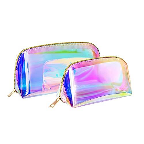 Borsa cosmetica,trucco,borsa cosmetica portatile,borsa cosmetica trasparente olografica da donna,borsa per monete,borsa cosmetica da viaggio,2 sacchetti cosmetici colorati