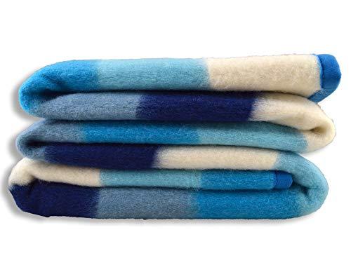 Centesimo Web Shop Coperta 50% Lana Invernale Righe Multicolore Arcobaleno 450 g/mq Italiana Italia Moderna Azzurra Blu Panna - Singola Una Piazza