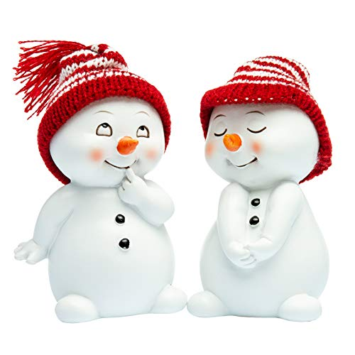 SIKORA DK32 Schneemann mit Strickmützen Dekofiguren für Weihnachten und Winter 2er Set H:11cm
