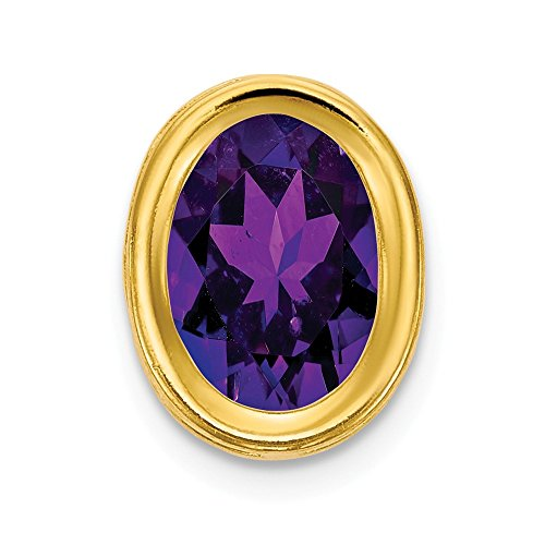 14k Yellow Gold 7x5mm Oval Purple Amethyst Bezel Pendant Charm Necklace Slide Chain Gemstone Fine Jewellery For Women Gifts For Her
