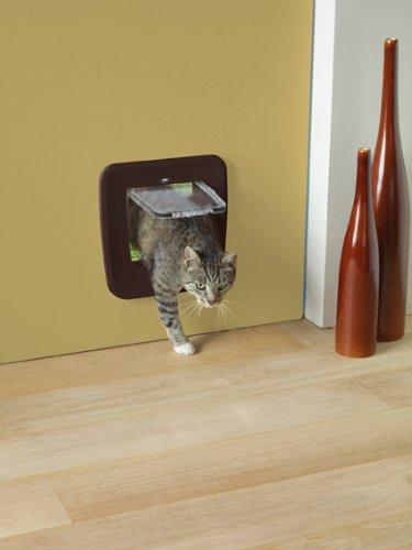 SAVIC Acceso actualizable 4-Way Cat Flap, Color marrón