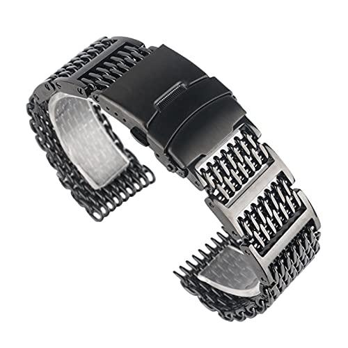 ZXF Correa Reloj, Ver Pulseras Black Steel de Acero Inoxidable Malla Cierre Plegable con Banda de Reloj de Seguridad 20mm 22 mm 24 mm Pulsera Hombres Mujeres (Band Width : 22mm)