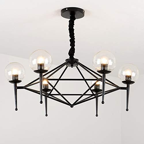 L-R-H Glaskugel Molecular Pendelleuchte, Decken Nordic Einfache Studie Lampe, postmoderne Golden Magic Bean Table Table-Befestigungs-Leuchter (Color : Black)