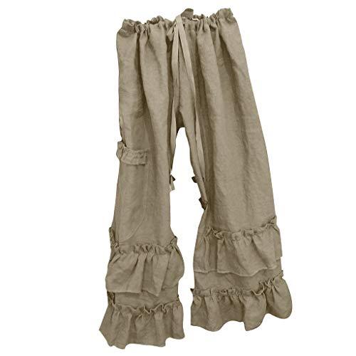 Pantalones Anchos Pierna Mujeres más sólidas de algodón de Lino Folds Casual Pantalones con Volantes Bolsillo Suelto Pierna Ancha Pantalones Pantalones de Campana Bottom (Color : Khaki, Size : L)
