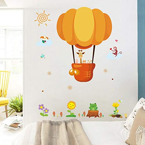 Pegatinas de Pared Animales de dibujos animados globo del aire caliente pegatinas de pared coche for cuartos de los niños Decoración for el Hogar de PVC de pared etiquetas de DIY Mural Art Poster Deco