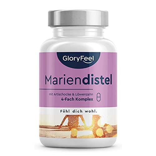 Mariendistel + Artischocke, Löwenzahn, Desmodium - Hochdosiert mit 80% Silymarin - 120 vegane Kapseln - Laborgeprüft, vegan und ohne Zusätze in Deutschland hergestellt