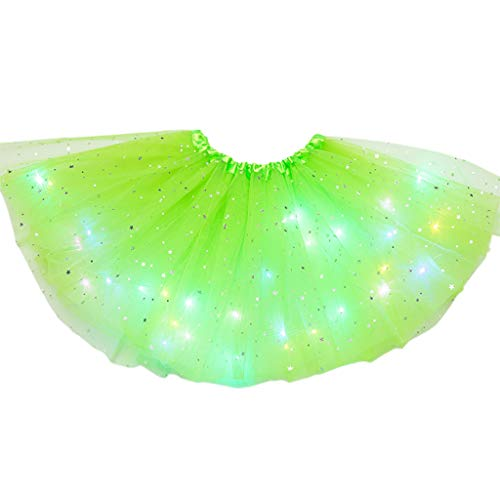 chenpaif Tutu Falda, Niños Niñas Brillo Estrella Lentejuelas Ballet Danza Falda Tutu LED Light Up Neon Colorful Layer Tulle Vestido Corto Fiesta Escenario Custume 3-12T Fruit Green