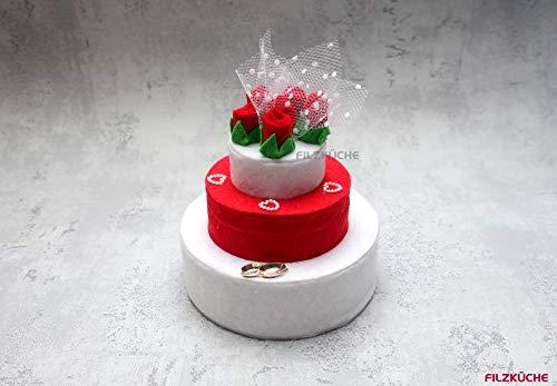 Hochzeit Geldgeschenke Torte romantisch Filz rote Rosen
