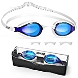 aegend Swim Goggles, Swimming Goggles with 4 Sizes Nose Bridge UV Protection Varied Color Lens No Leaking Anti Fog Crystal Triathlon Training, Blue White