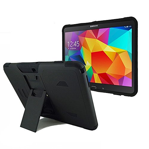 BNY-WIRELESS Samsung Galaxy Tab 4 10.1' SM-T530 Heavy Duty Rugged Impact Dual Layer Hybrid Case Cove with Kickstand-Black
