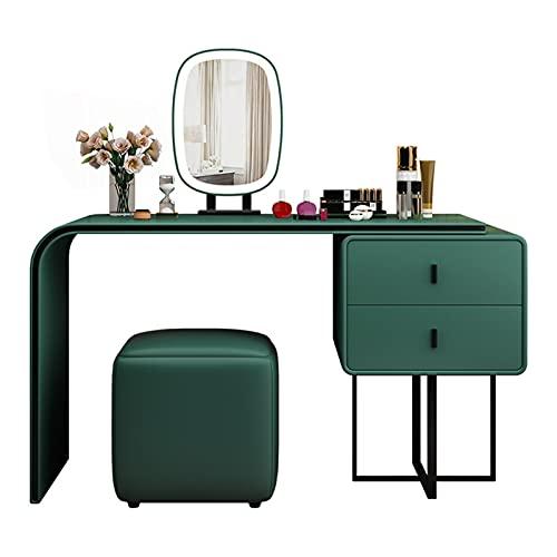 Conjunto de tocador de maquillaje minimalista con 3 espejos de atenuación de color, escritorio de tocador y silla, tocador con 2 cajones para niñas / mujeres, gran espacio de almacenamiento, verde