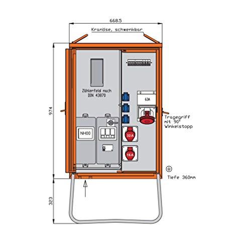 Walther Werke Anschlussverteilerschrank WAV0160R1 44kVA m.Zählerplatz Baustromverteiler 4015609067916