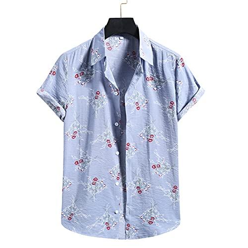 Shirt Hombre Estampada Verano Transpirable Regular Fit Hombre Ocio Shirt Kent Cuello Tapeta con Botones Shirt De Playa Manga Corta Ligera Hawaii Hombre T-Shirt P-016 XL