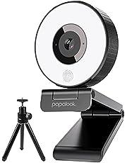 WEBカメラ HD1080P ウェブカメラ LEDライト付き 明るさ3階段調節可 三脚スタンド付き PAPALOOK 自動光補正 プロ級 マイク内蔵 ライブストリーミング ウェブカメラ pc外付けカメラ windows mac ウェブ会議/動画配信/ゲーム実況/ビデオ通話/在宅勤務など ストリーミングカメラ