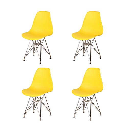 MUEBLES HOME - Juego de 4 sillas de cocina retro modernas con patas de metal para comedor, dormitorio, sala de estar