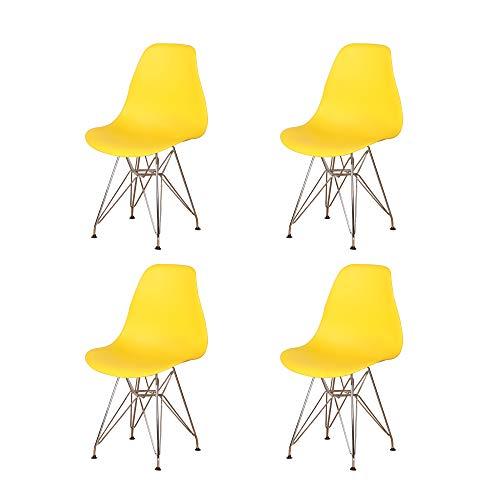 4er Set Esszimmerstühle Beine Aus Verchromtem Metall Exquisites Design Im Nordischen Stil für Esszimmer Wohnzimmer Schlafzimmer Küche (Gelb)