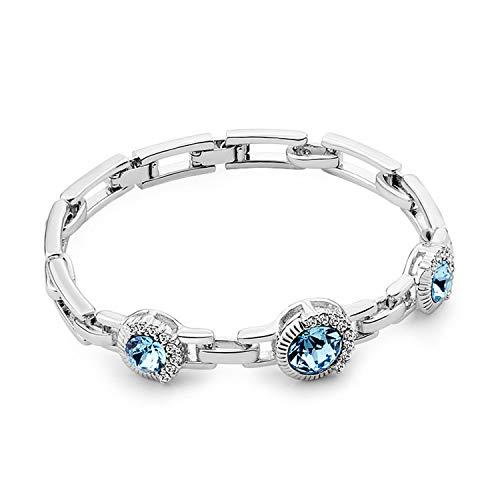 T400 Jewelers Bracciale Donna con Cristalli Catena Regolabile Regalo di Gioielli per Donna Ragazza Dimensione Regolabile 18.5CM