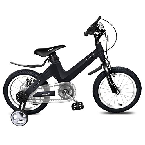 NiceC BMX Kids Bike with Dual Disc Brake for Boy and Girl 12-14-16-18 inch Training Wheels (Cool Black, 18 inch with Kickstand)