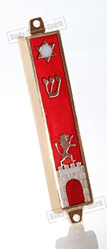 Body-Soul-n-Spirit Mezuzah Mezuzà Dorata su Sfondo Rosso 7 cm Stella di Davide Porta dei Leoni Gerusalemme Protezione della casa Idea Regalo mitzvà ebraica Decorativa per la casa