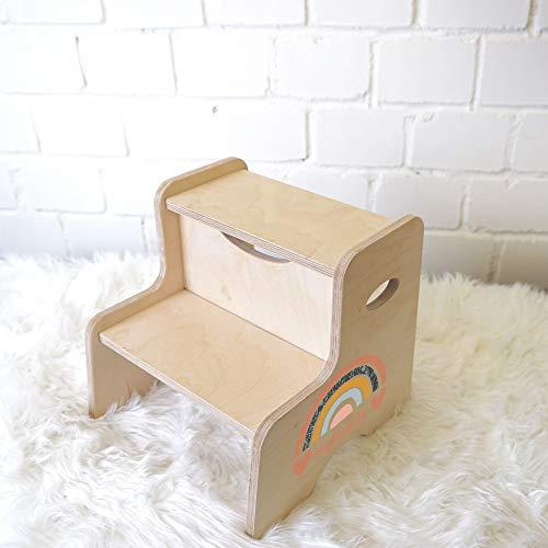 Hocker für Kinder, personalisierter Tritthocker mit Name, Kinderhocker aus Holz, Kinderstuhl aus Birkenholz, Kindertritt Montessori Fußbank