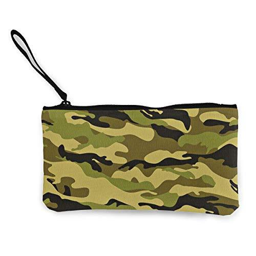Unisex Brieftasche, Münztaschen, Leinwand Geldbörse Reißverschlusstasche Brieftasche für Handy Bargeld Bankkarte Passmünze Armee Tarnung 3D Camo Print Wristlets Tragbare Tasche