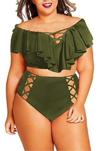 Sovoyontee Women Army Green Plus Size Ruffle Flounced High Waisted Swimsuits Swimwear 2XL 16